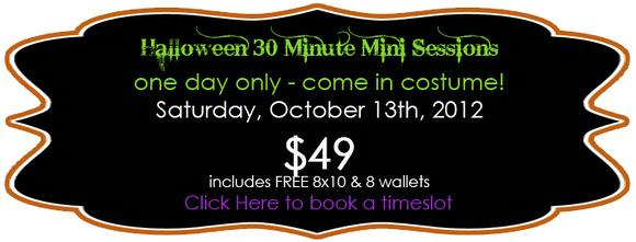 Halloween Mini Photo Sessions - Come in Costume!