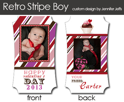 Retro Stripe Mini Valentine Cards
