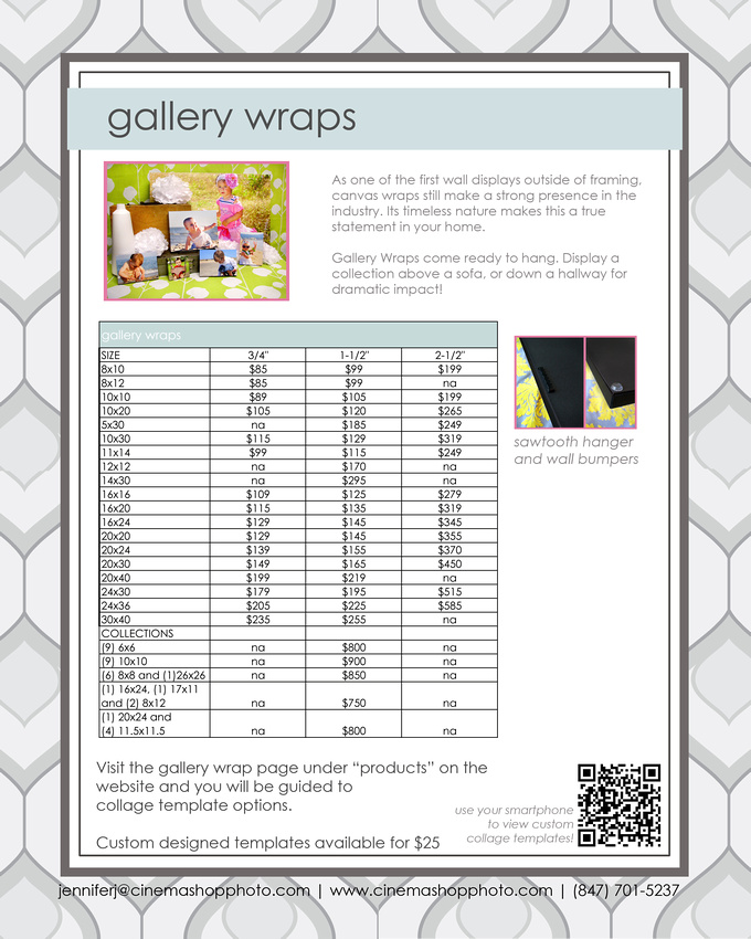 gallery wrap price guide