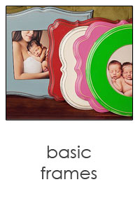 whimsical wooden luxe frames in a variety of colors by organic bloom
