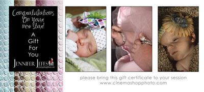 New baby girl gift certificate
