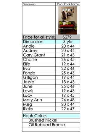 photo coat rack pricing chart