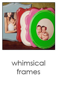 whimsical wooden frames in bright colors