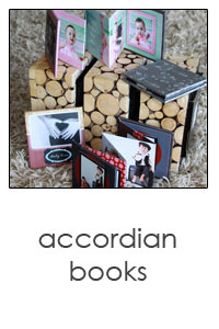 3x3 mini accordian custom designed brag books for your purse. A unique way to show off your family photos